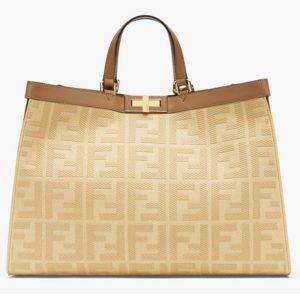 Fendi Women Medium Peekaboo X-Tote Beige Canvas Bag-Brown
