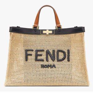 Fendi Women Medium Peekaboo X-Tote Natural Raffia Bag FENDI ROMA