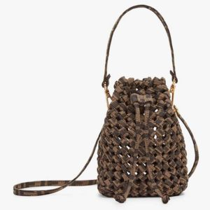 Fendi Women Mon Tresor Jacquard Fabric Interlace Mini-Bag-Brown