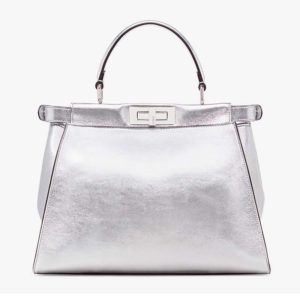 Fendi Women Peekaboo Iconic Medium Silver Mirror-Effect Leather Bag