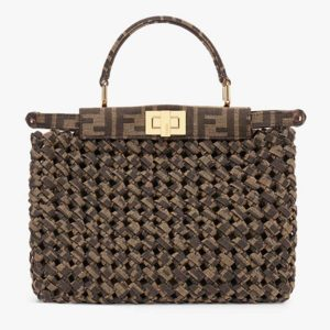 Fendi Women Peekaboo Iconic Mini Jacquard Fabric Interlace Bag FF