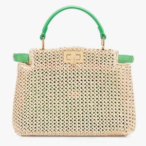 Fendi Women Peekaboo Iconic Mini Natural Raffia Bag Green Nappa