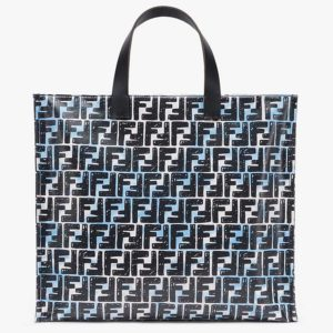Fendi Women Shopper Bag Blue Glazed Fabric Canvas FF Bag