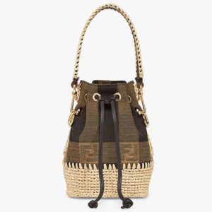 Fendi Women Small Mon Tresor Bucket Brown Fabric Mini-Bag