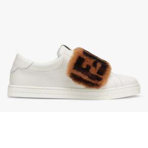 Fendi Women Sneakers White Leather Slip-ons Calfskin Sheepskin