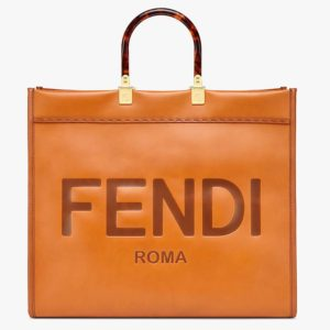 "Fendi Women Sunshine Shopper Bag Brown Leather Shopper ""FENDI ROMA"""