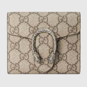 Gucci GG Unisex Dionysus Card Case Wallet GG Supreme Canvas
