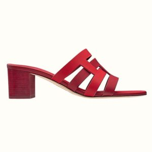 Hermes Women Amica Sandal Calfskin Two Intertwined Initials Straight Cut Edges-Red