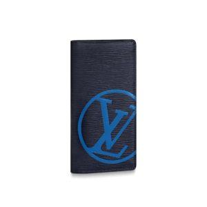 Louis Vuitton LV Unisex Brazza Wallet Cowhide Leather-Blue