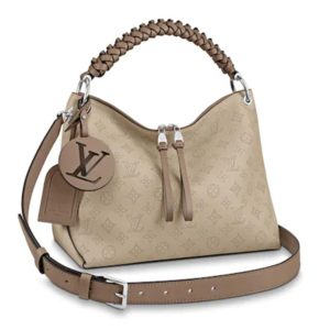 Louis Vuitton LV Women Beaubourg Hobo MM Mahina Calf Leather-Sandy