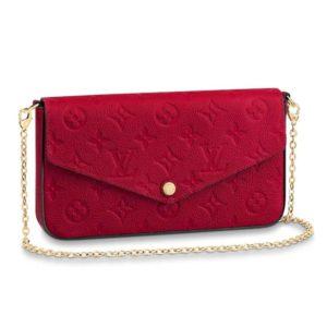 Louis Vuitton LV Women Félicie Pochette Monogram Empreinte Leather-Red