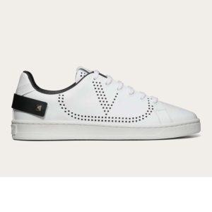 Valentino Unisex Backnet Sneaker Calfskin Leather Side VLogo Signature-Black