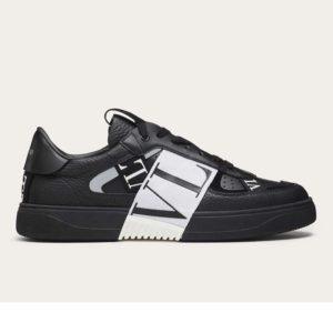 Valentino Unisex Calfskin VL7N Sneaker Bands Rubber-Effect VLTN Logo-Black