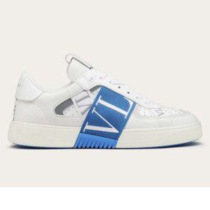 Valentino Unisex Calfskin VL7N Sneaker Bands Rubber-Effect VLTN Logo-Blue
