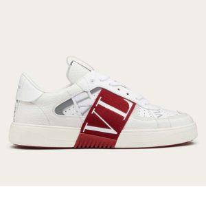 Valentino Unisex Calfskin VL7N Sneaker Bands Rubber-Effect VLTN Logo-Red