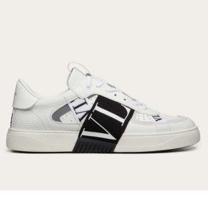 Valentino Unisex Calfskin VL7N Sneaker Bands Rubber-Effect VLTN Logo-White