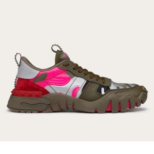 Valentino Unisex Camouflage Rockrunner Plus Sneaker Raised Details-Rose
