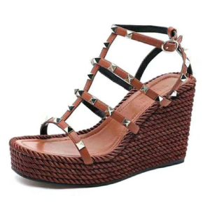 Valentino Women Garavani Ankle Strap Wedge Calfskin Leather 95 mm-Brown