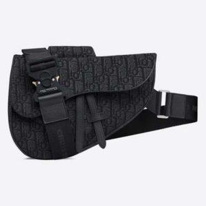 Dior Unisex Saddle Bag Black Dior Oblique Jacquard Grained Calfskin