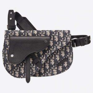 Dior Unisex Saddle Pouch Beige and Black Dior Oblique Jacquard