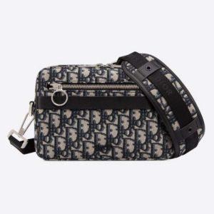 Dior Unisex Safari Messenger Bag Grained Black Calfskin Dior Oblique Jacquard