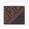 Fendi Unisex Wallet Brown Fabric Bi-Fold FF Motif Black Leather