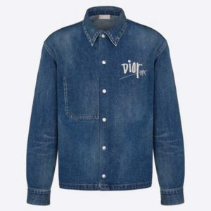 Dior Men Dior And Shawn Overshirt Blue Cotton Wash-Dyed Denim