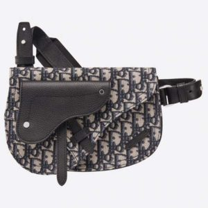 Dior Men Saddle Pouch Beige and Black Dior Oblique Jacquard