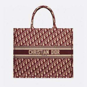 Dior Unisex Dior Book Tote Maroon Dior Oblique Embroidered Velvet