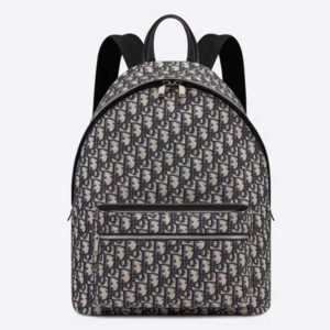 Dior Unisex Rider Backpack Beige and Black Dior Oblique Jacquard