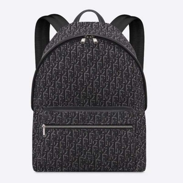 Dior Unisex Rider Backpack Gray Dior Oblique Jacquard