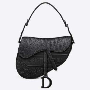 Dior Unisex Saddle Bag Black Dior Oblique Embossed Calfskin 'CD'