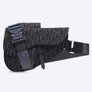 Dior Unisex Saddle Bag Gray Dior Oblique Jacquard Grained Calfskin