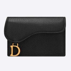 Dior Unisex Saddle Flap Card Holder Black Goatskin 'D' Accent