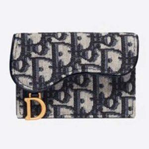 Dior Unisex Saddle Flap Card Holder Blue Dior Oblique Jacquard