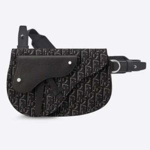 Dior Unisex Saddle Pouch Gray Dior Oblique Jacquard 'Christian Dior'