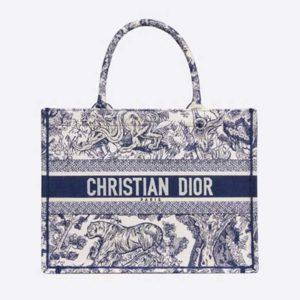 Dior Unisex Small Dior Book Tote Blue Toile De Jouy Embroidery