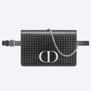 Dior Women 30 Montaigne 2-in-1 Pouch Metallic Black Microcannage Calfskin