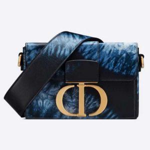 Dior Women 30 Montaigne Box Bag Blue Multicolor Tie & Dior Smooth Calfskin