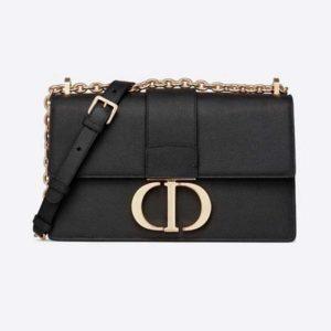 Dior Women 30 Montaigne Chain Bag 'CD' Black Grained Calfskin