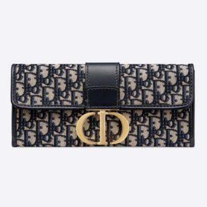 Dior Women 30 Montaigne Pouch Blue Dior Oblique Jacquard 'CD' Clasp