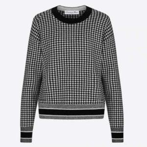 Dior Women 30 Montaigne Sweater Black White Houndstooth Stretch Cashmere Jacquard