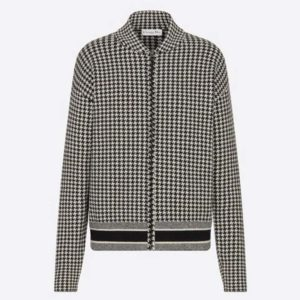 Dior Women Bomber Jacket Black and White Houndstooth Cashmere