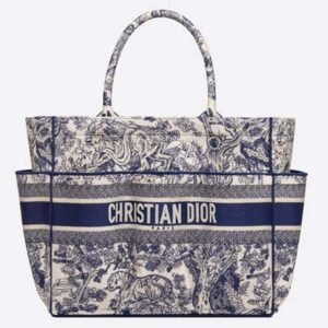Dior Women Catherine Tote Blue Toile De Jouy Embroidery 'Christian Dior'