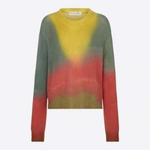 Dior Women Dioraura Sweater Multicolor Cashmere Embroidered Bee Emblem Oversized Fit