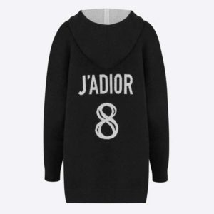 Dior Women J'Adior 8 Hooded Sweater Black Cashmere Relaxed Fit