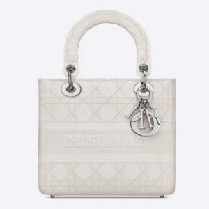 Dior Women Medium Lady D-Lite Bag White Cannage Embroidery