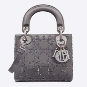 Dior Women Mini Lady Dior Bag Gray Strass Cannage Satin