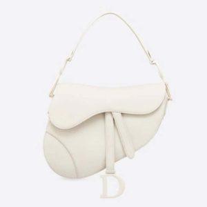 Dior Women Saddle Bag Latte Ultramatte Calfskin 'D' 'CD' Signature-White