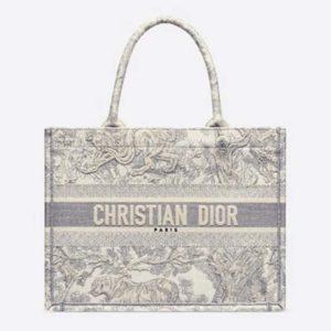 Dior Women Small Dioriviera Dior Book Tote Gray Toile De Jouy Embroidery